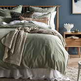 Temple & Webster Sage Fringed Maia Cotton-Linen Quilt Cover Set