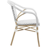 Temple & Webster Grey & White Paris PE Rattan Outdoor Cafe Armchairs