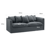 Temple & Webster Charcoal Montauk 3 Seater Slipcover Sofa