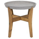 Temple & Webster Chet Cement & Wood Outdoor Side Table