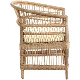 Temple & Webster Natural Malawi Style PE Rattan Outdoor Cushioned Dining Chair