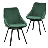 Temple & Webster Nappa Velvet Swivel Dining Chairs
