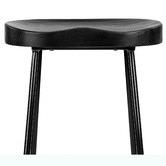 Temple & Webster 66cm Premium Vintage-Style Black Elm Wood Barstools with Black Legs