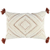 Temple & Webster Rust Tufted Elkie Rectangular Cushion with Tassels