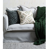 Temple & Webster Green Embroidered Prairie Cotton Cushion