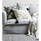 Temple & Webster Green Hand-Embroidered Demi Cotton Cushion