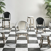 Temple & Webster 46cm Grey & White Paris PE Rattan Outdoor Cafe Stools