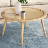 Temple & Webster Light Oak Daintree Rattan & Oak Coffee Table