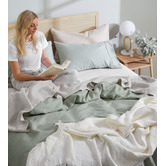 Temple & Webster Sage Pure French Flax Linen Quilt Cover Set