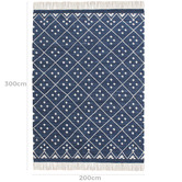 Temple & Webster Blue Paige Hand-Woven Wool-Blend Rug
