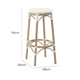 Temple & Webster 76cm White Paris PE Rattan Outdoor Cafe Barstool