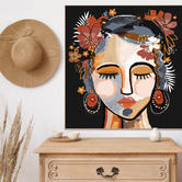 Iconiko Ochre Isla Framed Canvas Wall Art