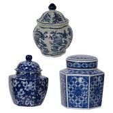 Chartwell Home 3 Piece Severine Porcelain Temple Jar Set