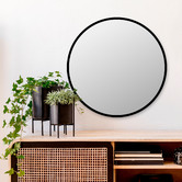 Maddison Lane Black Antawn Round Wall Mirror