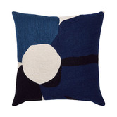 L & M Home Blue Anemone Wool Cushion