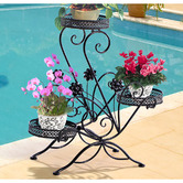 Oakleigh Home Black 3 Tier Wrought Iron Plant Stand