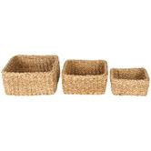 Maine & Crawford 3 Piece Square Scarborough Seagrass Basket Set