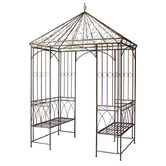 The Complete Garden Rustic Brown Garden Gazebo with Built-In Benches