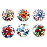 Bohemia & Co 6 Piece Multi-Colour Floral Knob Set