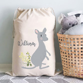 Happy Joy Décor Kids' Kangaroo Personalised Cotton Toy Storage Bag