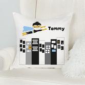 Happy Joy Décor Monochrome Superhero Personalised Cotton Cushion
