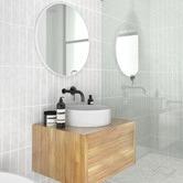Future Glass White Round Stainless Steel Wall Mirror