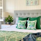 Willow Home & Living Green & Blue Hydrangeas Mia Linen-Blend Cushion Cover