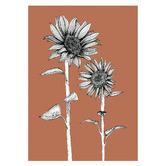 Frianki Terracotta Sunflowers Unframed Paper Print