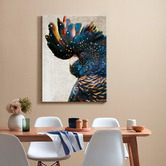 Art Illusions Black Cockatoo Side Grunge Printed Wall Art