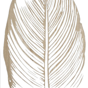 Mangowood Leaf Detail Carved Artwork With White Background