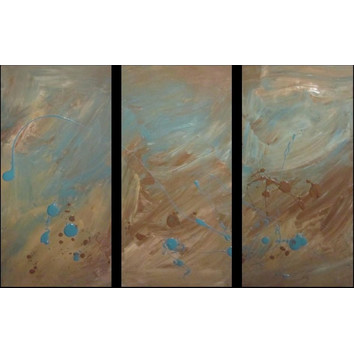 3 piece abstract canvas painting in brown and turquoise for Kitchen cabinets lowes with three piece canvas wall art
