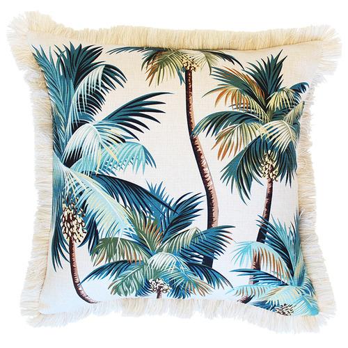 Natural Palm Trees Coastal Fringed Square Cushion