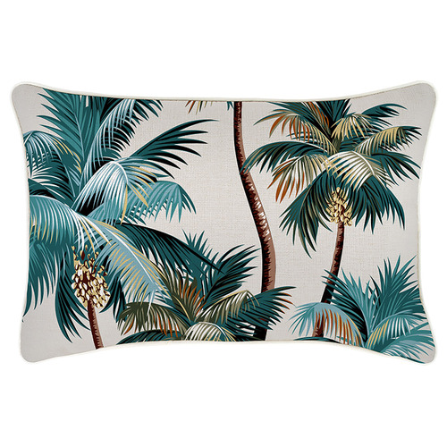 Escape to Paradise Cream Palm Trees Piped Rectangular Outdoor Cushion