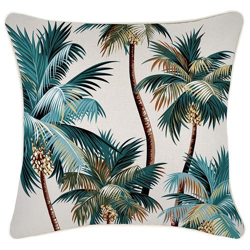 Aqua Palm Trees Piped Square Outdoor Cushion
