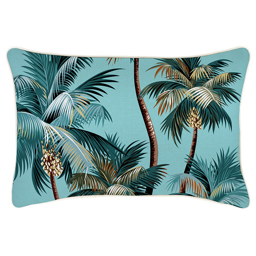 Escape to Paradise Aqua Palm Trees Piped Rectangular Outdoor Cushion
