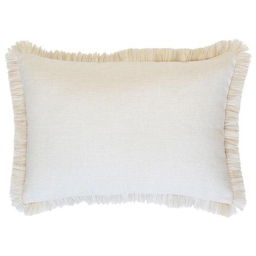 Escape to Paradise Natural Coastal Fringed Rectangular Cushion