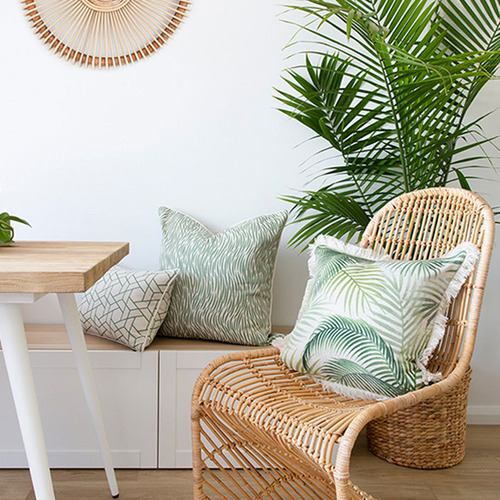 Escape to Paradise Green Milan Piped Square Outdoor Cushion