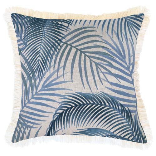 Escape to Paradise Blue Seminyak Coastal Fringed Square Cushion