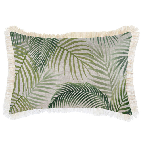 Escape to Paradise Green Seminyak Coastal Fringed Rectangular Cushion