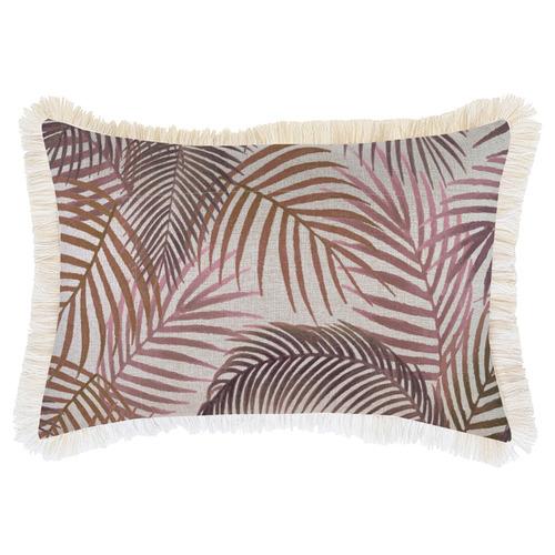 Rose Seminyak Coastal Fringed Rectangular Cushion