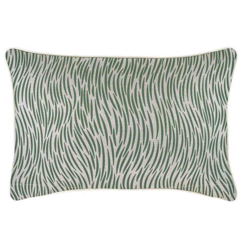 Escape to Paradise Green Wild Piped Rectangular Outdoor Cushion