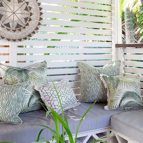 Escape to Paradise Green Seminyak Coastal Fringed Square Cushion