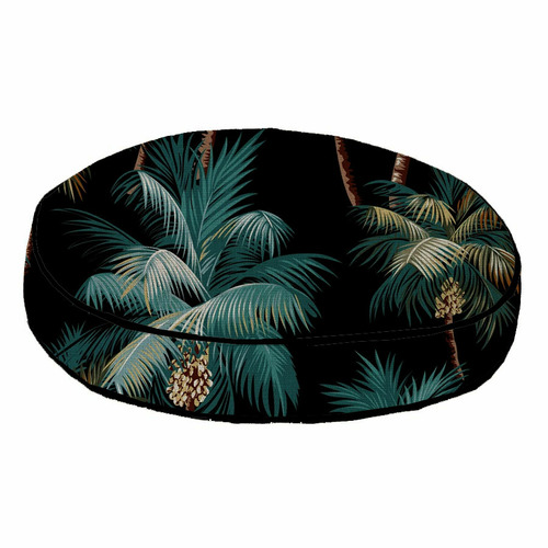 Escape to Paradise Black Palm Trees Piped Outdoor Cushion