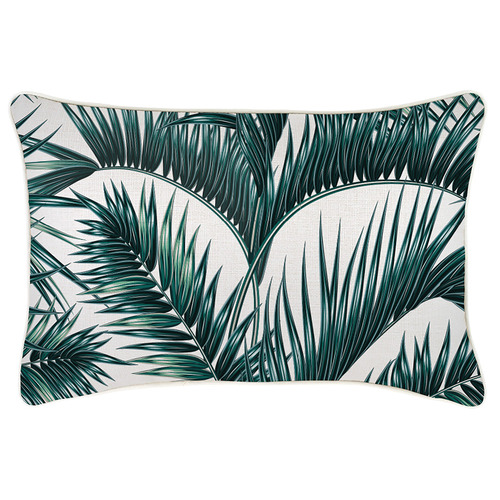 Escape to Paradise Palm Fronds Piped Outdoor Cushion