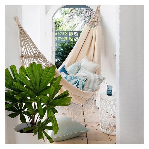 Escape to Paradise Natural Coastal Fringed Square Cushion