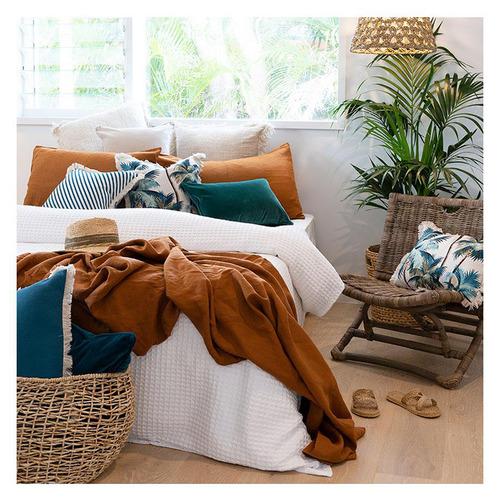 Natural Palm Trees Coastal Fringed Rectangular Cushion