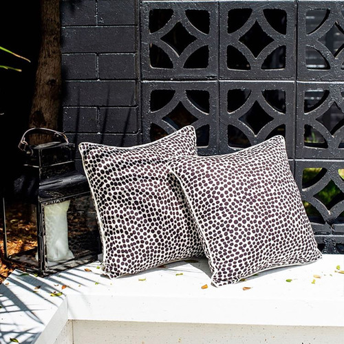 Escape to Paradise Pebbles Piped Square Outdoor Cushion