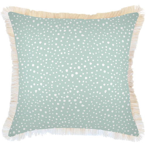 Escape to Paradise White Coastal Fringe Lunar Square Outdoor Cushion