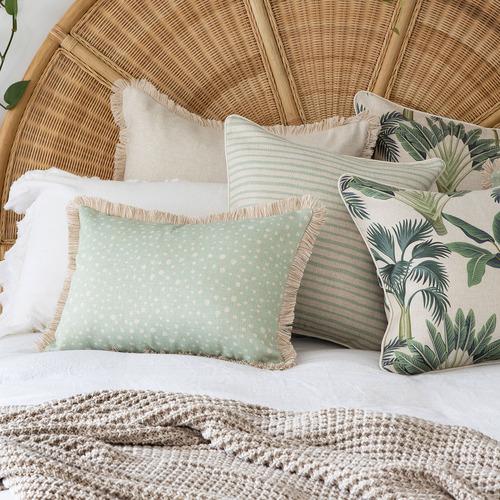 Coastal Del Coco Pipe Edge Square Cushion