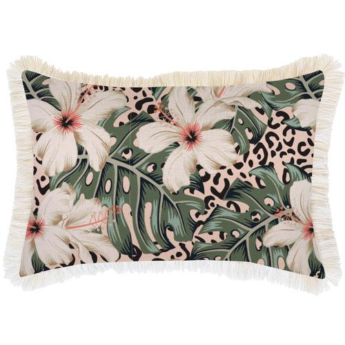Escape to Paradise Coastal Fringe Tropical Jungle Rectangular Outdoor Cushion